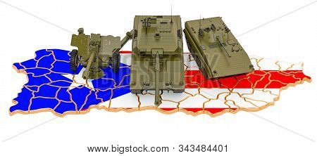 Combat Vehicles On Puerto Rican Map. Military Defence Of Puerto Rico Concept, 3d Rendering Isolated