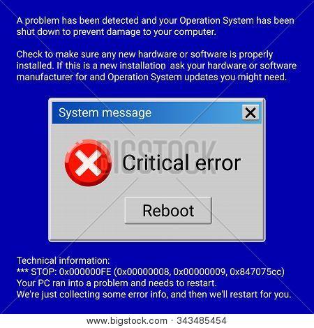Critical Error System Message On Blue Screen