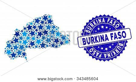 Blue Burkina Faso Map Collage Of Stars, And Grunge Rounded Seal. Abstract Territory Plan In Blue Col