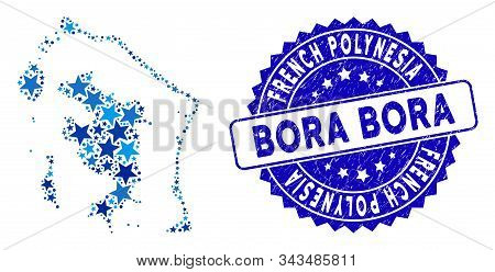 Blue Bora-bora Map Composition Of Stars, And Textured Round Stamp. Abstract Territory Scheme In Blue