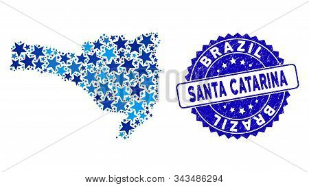 Blue Santa Catarina State Map Mosaic Of Stars, And Grunge Round Stamp Seal. Abstract Territorial Pla