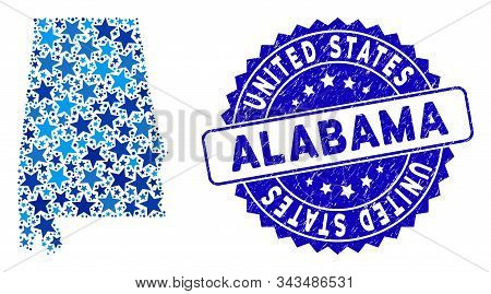 Blue Alabama State Map Collage Of Stars, And Scratched Rounded Stamp Seal. Abstract Geographic Schem