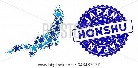 Blue Honshu Island Map Composition Of Stars, And Textured Round Stamp. Abstract Territorial Scheme I