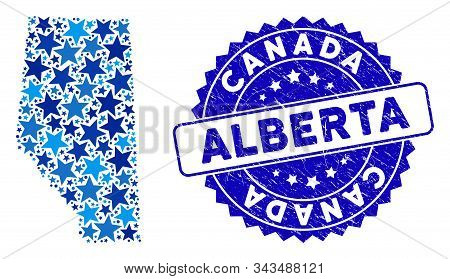 Blue Alberta Province Map Composition Of Stars, And Textured Rounded Stamp. Abstract Geographic Plan
