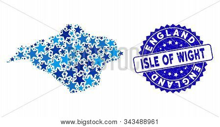 Blue Isle Of Wight Map Mosaic Of Stars, And Scratched Rounded Stamp Seal. Abstract Territorial Schem