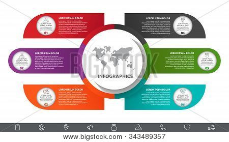 Vector Infographic With Main Circle And 6 Labels. Circles With Icons For Six Diagrams, Graph, Flowch