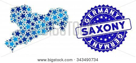 Blue Saxony Land Map Collage Of Stars, And Distress Rounded Stamp. Abstract Territory Scheme In Blue