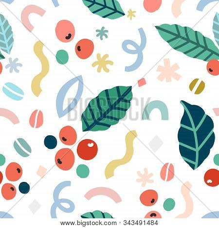 Coffee Seamless Pattern, Modern Simple Vector Background With Colorful Doodles And Illustrations Of
