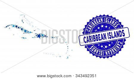 Blue Caribbean Islands Map Collage Of Stars, And Distress Round Stamp. Abstract Geographic Scheme In