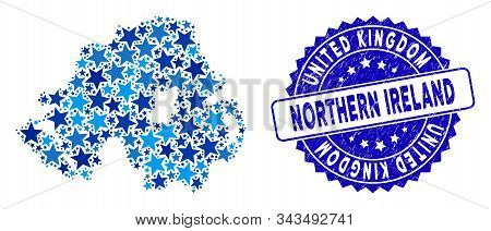 Blue Northern Ireland Map Mosaic Of Stars, And Distress Round Seal. Abstract Territorial Scheme In B