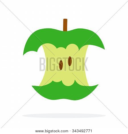 Stub Of A Green Apple With Stem Flat Isolated