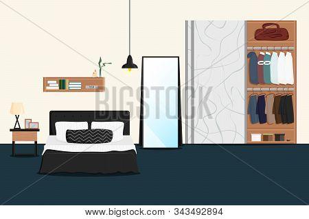 Vector Flat Illustration Of Male Bedroom Interior