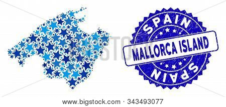 Blue Spain Mallorca Island Map Composition Of Stars, And Textured Rounded Seal. Abstract Territorial