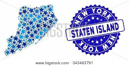 Blue Staten Island Map Composition Of Stars, And Grunge Rounded Stamp Seal. Abstract Geographic Plan