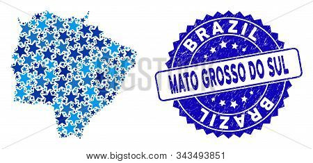 Blue Mato Grosso Do Sul State Map Collage Of Stars, And Textured Round Stamp. Abstract Territory Sch
