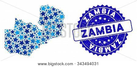 Blue Zambia Map Mosaic Of Stars, And Distress Round Stamp Seal. Abstract Territorial Scheme In Blue