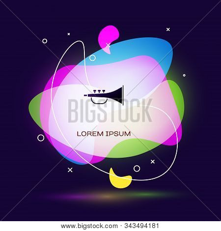 Black Musical Instrument Trumpet Icon Isolated On Blue Background. Abstract Banner With Liquid Shape