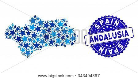 Blue Andalusia Province Map Composition Of Stars, And Scratched Round Seal. Abstract Geographic Plan
