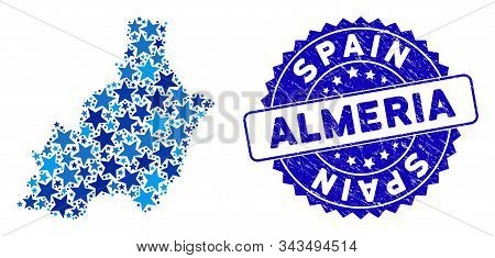 Blue Almeria Province Map Collage Of Stars, And Textured Rounded Seal. Abstract Territory Plan In Bl