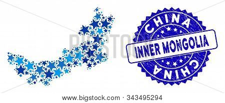 Blue Chinese Inner Mongolia Map Mosaic Of Stars, And Distress Round Seal. Abstract Territorial Plan
