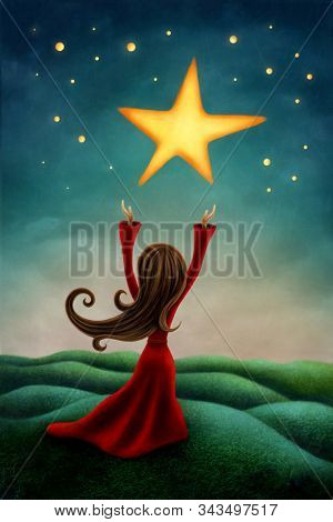 illustration of a girl reaching for a star