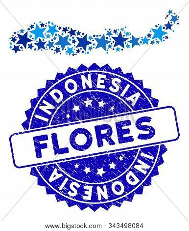 Blue Flores Island Of Indonesia Map Collage Of Stars, And Distress Rounded Stamp Seal. Abstract Terr