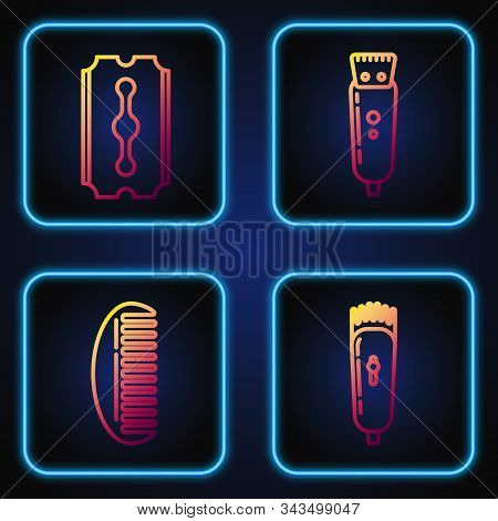 Set Line Electrical Hair Clipper Or Shaver, Hairbrush, Blade Razor And Electrical Hair Clipper Or Sh