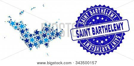 Blue Saint Barthelemy Map Mosaic Of Stars, And Textured Round Stamp Seal. Abstract Territory Plan In