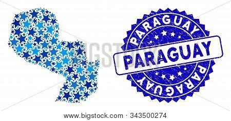 Blue Paraguay Map Mosaic Of Stars, And Textured Rounded Stamp. Abstract Territory Plan In Blue Color