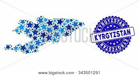 Blue Kyrgyzstan Map Mosaic Of Stars, And Textured Rounded Seal. Abstract Geographic Scheme In Blue C