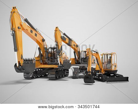 Group Of Orange Excavator 3d Rendering On Gray Background With Shadow