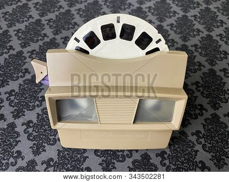 WOODBRIDGE, NJ / UNITED STATES - January 6, 2020: A vintage tan colored View-Master from the 1960s