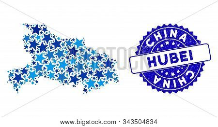Blue Hubei Province Map Mosaic Of Stars, And Grunge Rounded Stamp Seal. Abstract Territory Plan In B