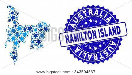 Blue Hamilton Island Map Collage Of Stars, And Textured Rounded Seal. Abstract Territory Plan In Blu