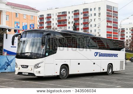 Ufa, Russia - October 10, 2019: Intercity Coach Bus Vdl Futura In The City Street.