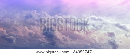 Gorgeous Fluffy Pink Blue Ethereal Cloudscape - Wide Panorama Of Moody Romantic Fluffy Clouds In Pin