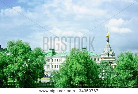 Park, Historical Buildings And Chapel In Omsk