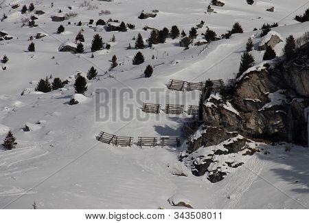 Avalanche Barriers Near Bivio In Graubünden In The Swiss Alps
