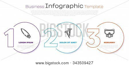Set Line Surfboard, Pegs For Tents And Diving Mask. Business Infographic Template. Vector