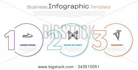 Set Line Jet Ski, Ski And Sticks And Pegs For Tents. Business Infographic Template. Vector