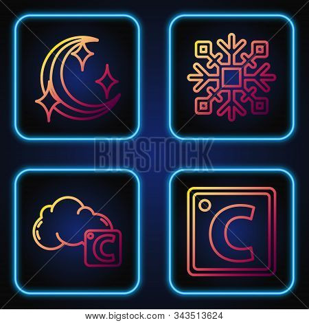 Set Line Celsius, Celsius And Cloud, Moon And Stars And Snowflake. Gradient Color Icons. Vector