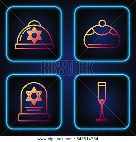 Set Line Jewish Goblet, Tombstone With Star Of David, Jewish Kippah With Star Of David And Jewish Sw