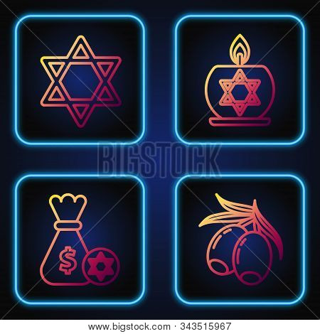 Set Line Olives Branch, Jewish Money Bag With Star Of David And Coin, Star Of David And Burning Cand