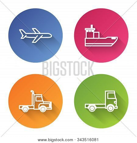 Set Line Plane, Cargo Ship, Delivery Cargo Truck Vehicle And Delivery Cargo Truck Vehicle. Color Cir