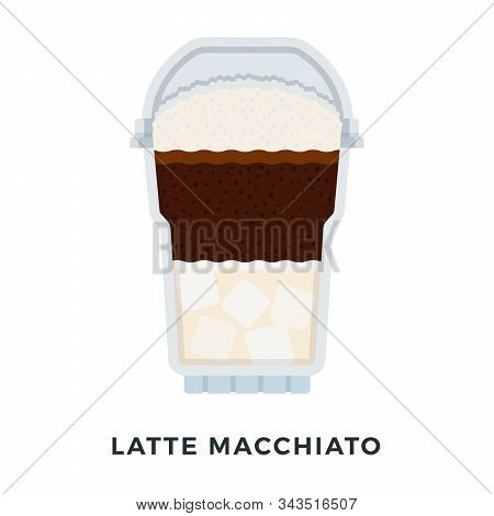 Latte Macchiato Ice Coffee Vector Flat Isolated