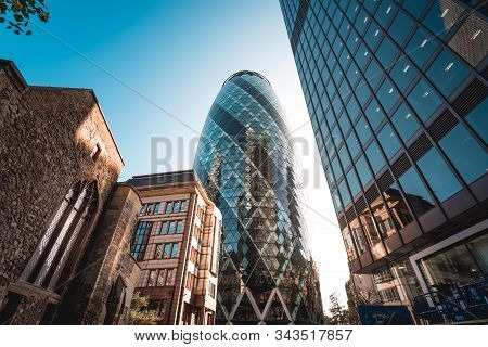 London, Uk - October 18, 2019: Modern Architecture 30 St Mary Axe Building, Also Known As The Gherki