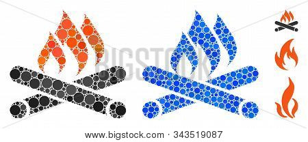 Campfire Mosaic Of Round Dots In Various Sizes And Color Tones, Based On Campfire Icon. Vector Round