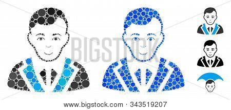 Noble Gentleman Mosaic Of Spheric Dots In Different Sizes And Color Tints, Based On Noble Gentleman