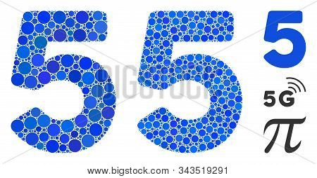 5 Digit Mosaic Of Small Circles In Different Sizes And Color Tints, Based On 5 Digit Icon. Vector Sm