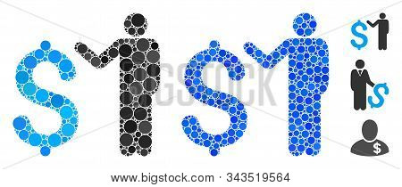 Banker Mosaic Of Circle Elements In Different Sizes And Color Tints, Based On Banker Icon. Vector Ra